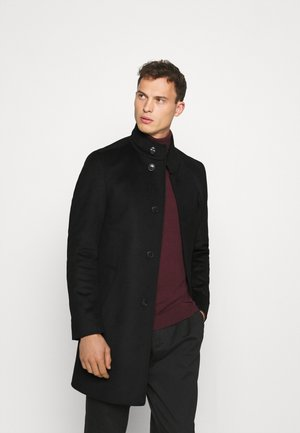 SOLID STAND UP COLLAR COAT - Cappotto classico - black