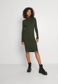 G-Star - MOCK SLIM DRESS - Gebreide jurk - dark bronze green - 0