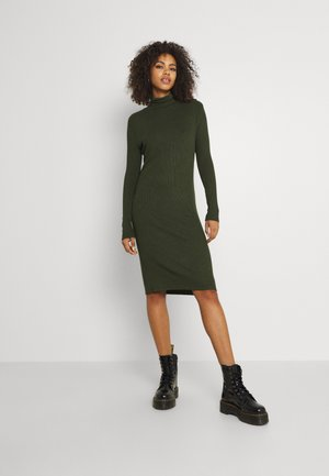 MOCK SLIM DRESS - Jumper dress - dark bronze green