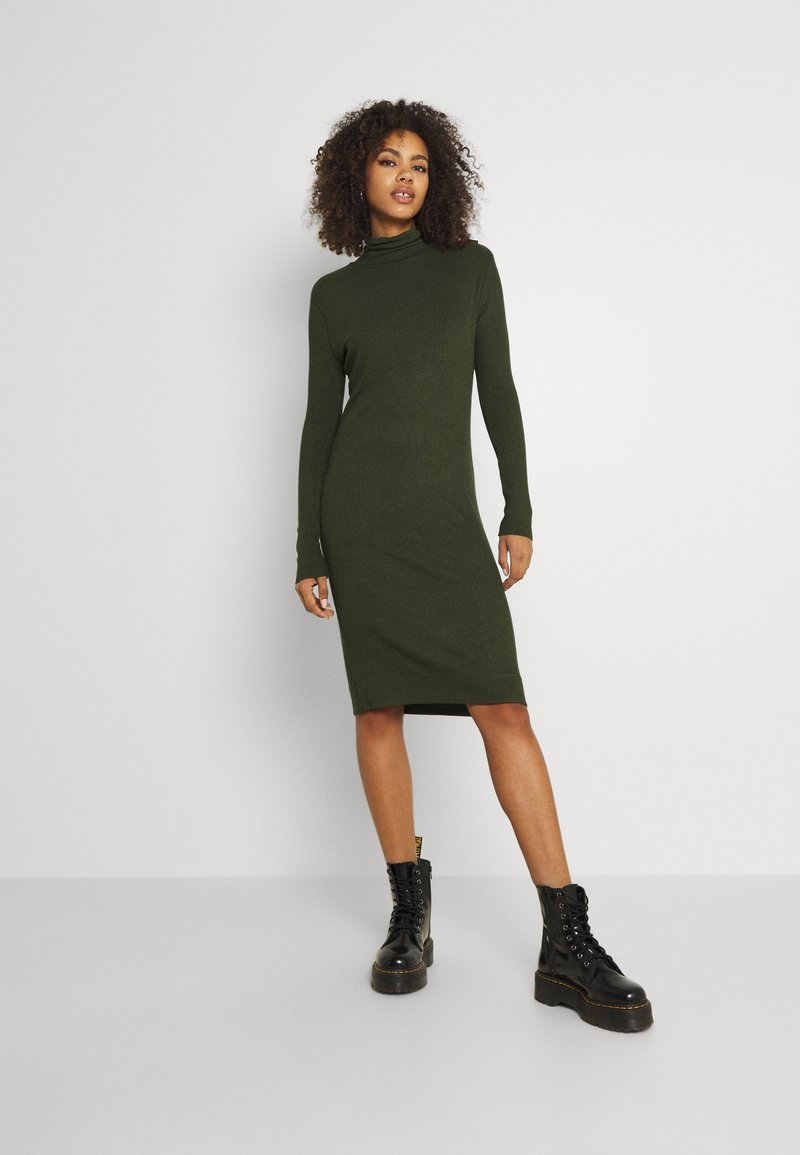G-Star - MOCK SLIM DRESS - Gebreide jurk - dark bronze green