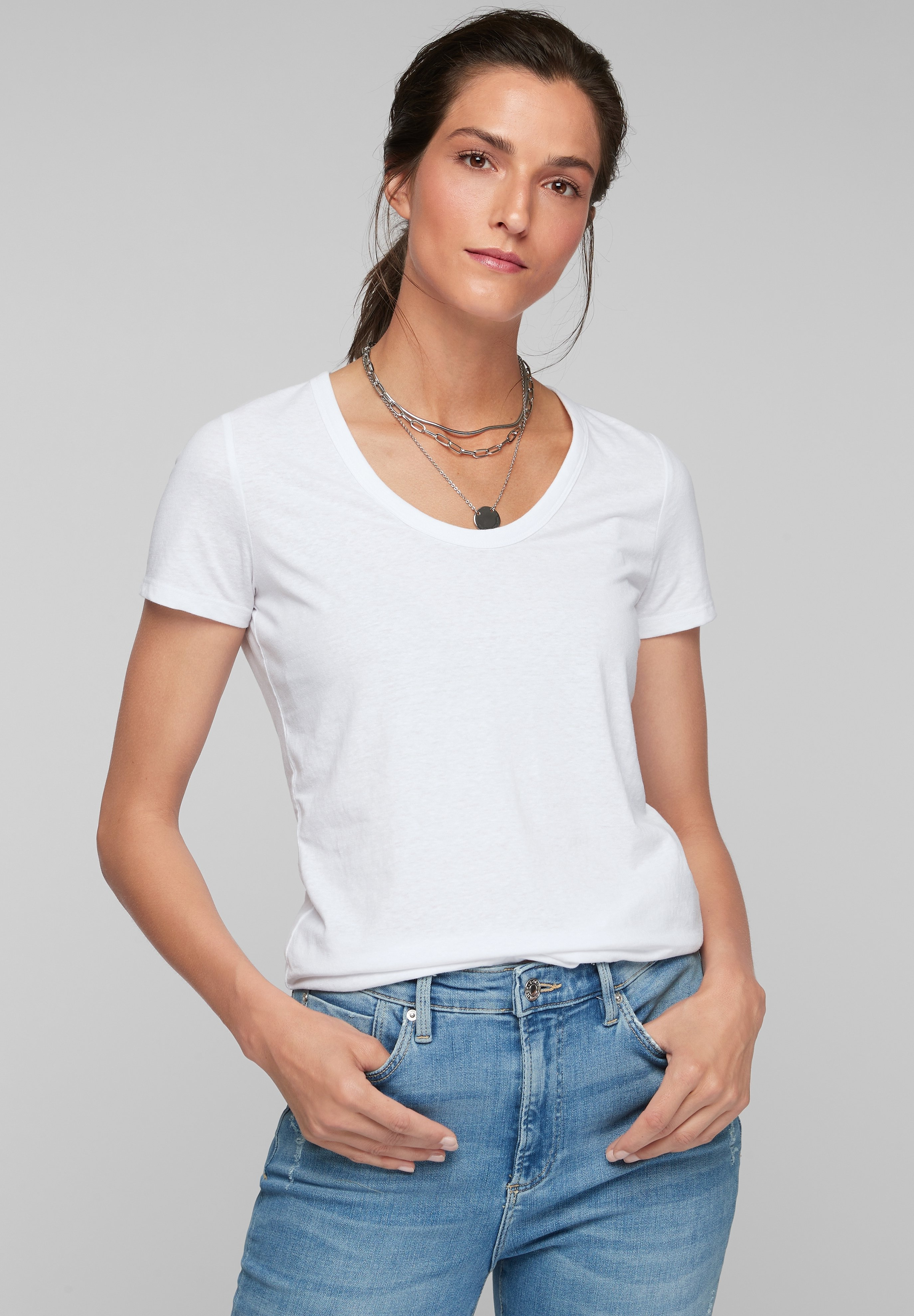 Damen MIT U-AUSSCHNITT - T-Shirt basic