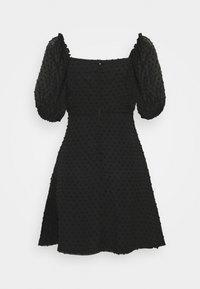 Missguided - MILKMAID SKATER DRESS DOBBY - Kjole - black - 1