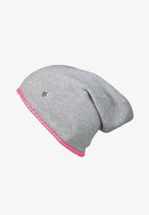 MIT HÄKELRAND - Beanie - hellgrau pink