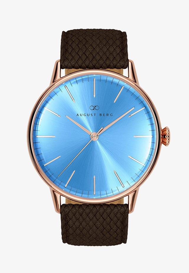 UHR SERENITY SKY BLUE DARK BROWN PERLON 40MM - Horloge - sky blue