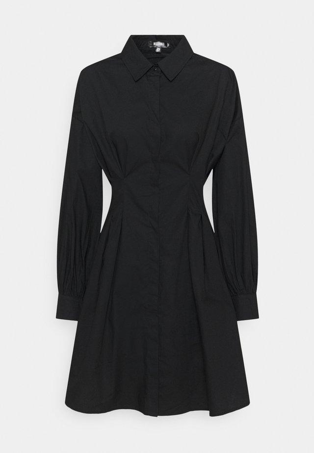 TALL POPLIN PLEATED WAIST DRESS - Paitamekko - black