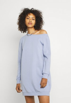 SWEAT Off shoulder mini dress - Day dress - light blue