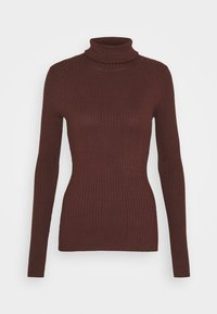 Even&Odd - BASIC- RIBBED TURTLE NECK - Jumper - dark brown - 4