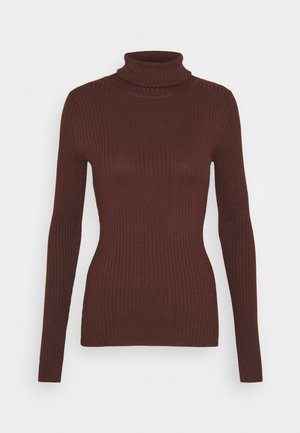 BASIC- RIBBED TURTLE NECK - Maglione - dark brown