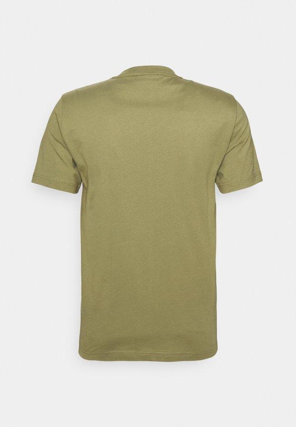 Calvin Klein FRONT LOGO - T-shirt z nadrukiem - green/oliwkowy Odzież Męska KTRE