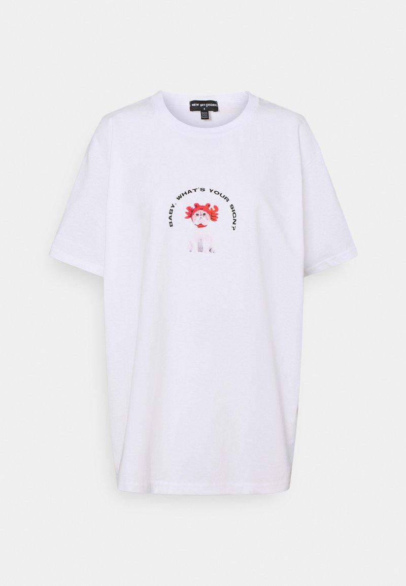 NEW girl ORDER - CAT STAR SIGN TEE - Print T-shirt - white
