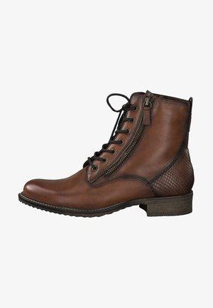 Cowboy/biker ankle boot - cognac/snake