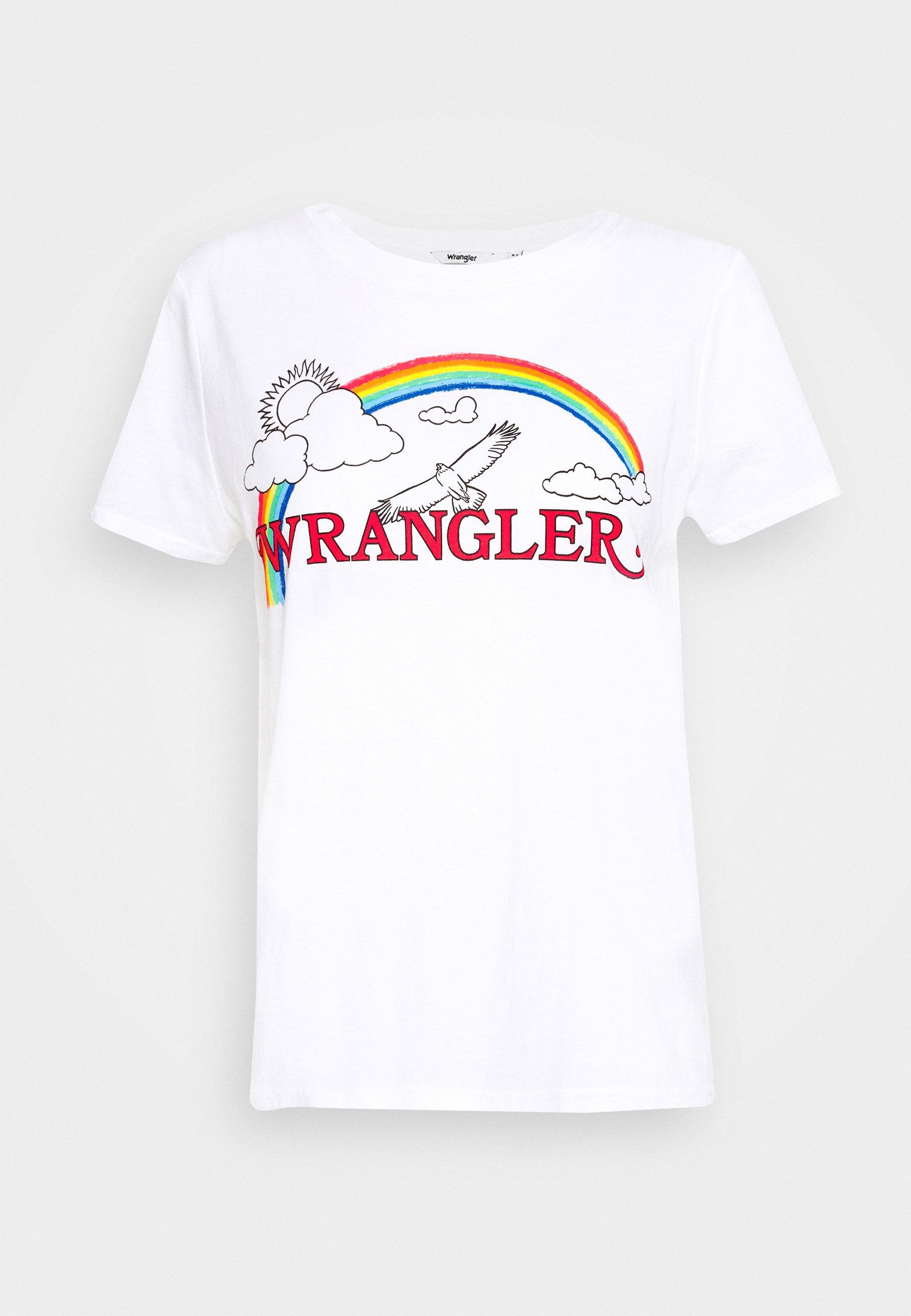 Wrangler Rainbow Regular - T-shirts Med Print True White/hvit