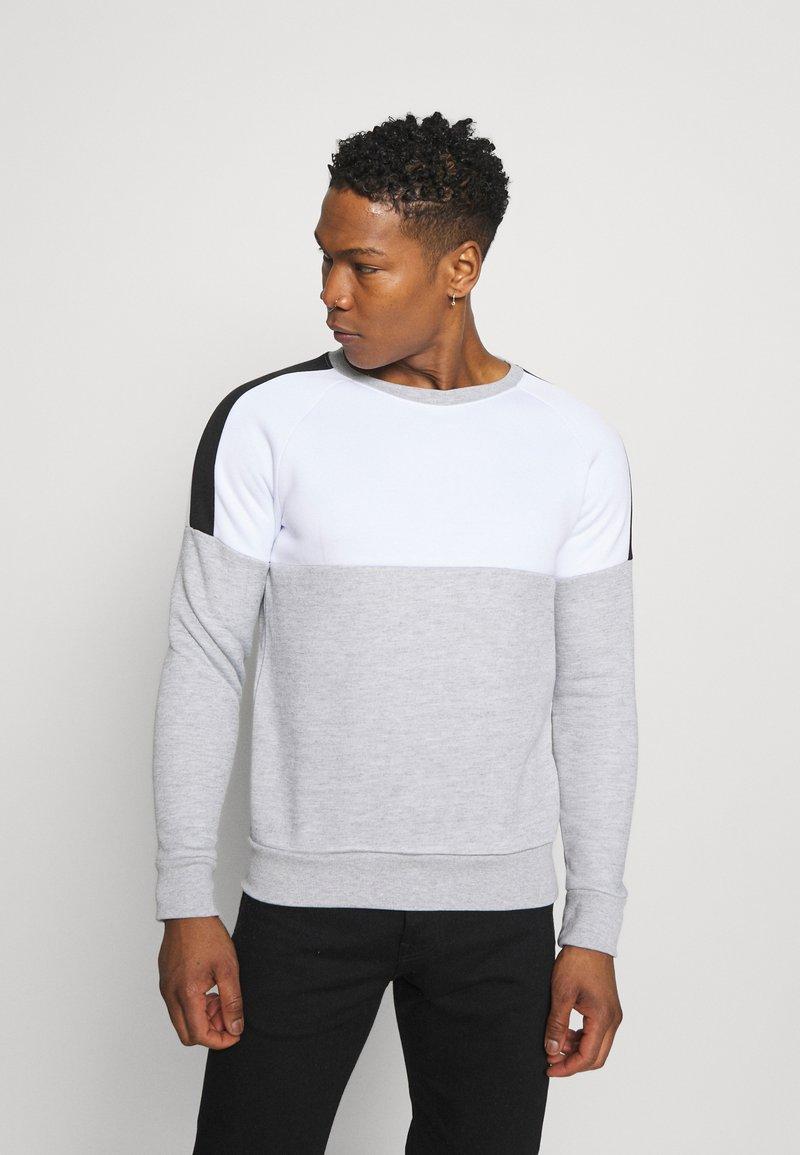 Brave Soul - ROOSEVELT - Sweatshirt - optic white/light grey marl/jet black
