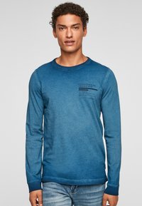 QS by s.Oliver - MIT RELIEFDRUCK - Long sleeved top - blue - 0