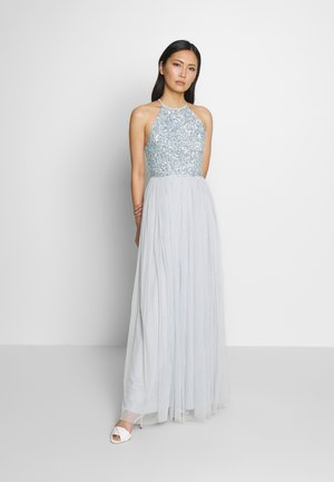 HALTER NECK DELICATE SEQUIN MAXI DRESS - Iltapuku - ice blue