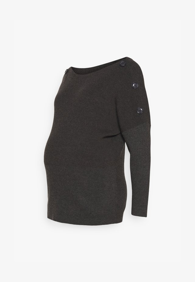 BUTTON DETAIL JUMPER - Jumper - charcoal