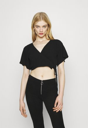 FLARED SLEEVE  - Print T-shirt - black