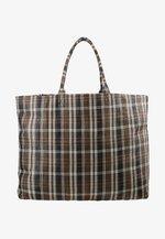 HALINA - Tote bag - brown/white