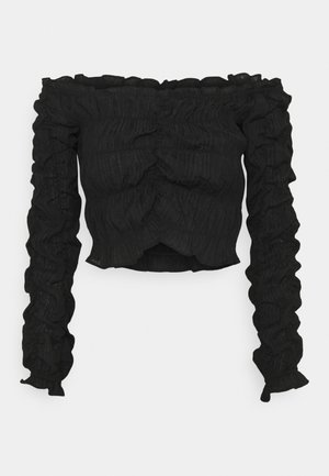 ALL OVER RUCHED - Long sleeved top - black