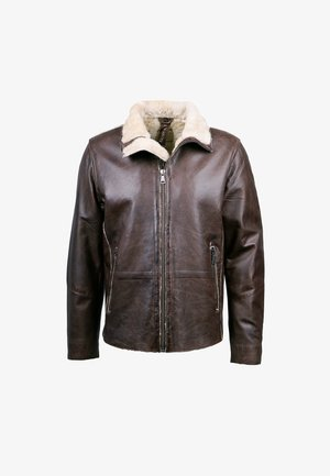 RAIK-FN - Leather jacket - dark brown/beige