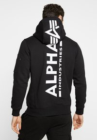 Alpha Industries - BACK PRINT HOODY - Felpa con cappuccio - black - 0