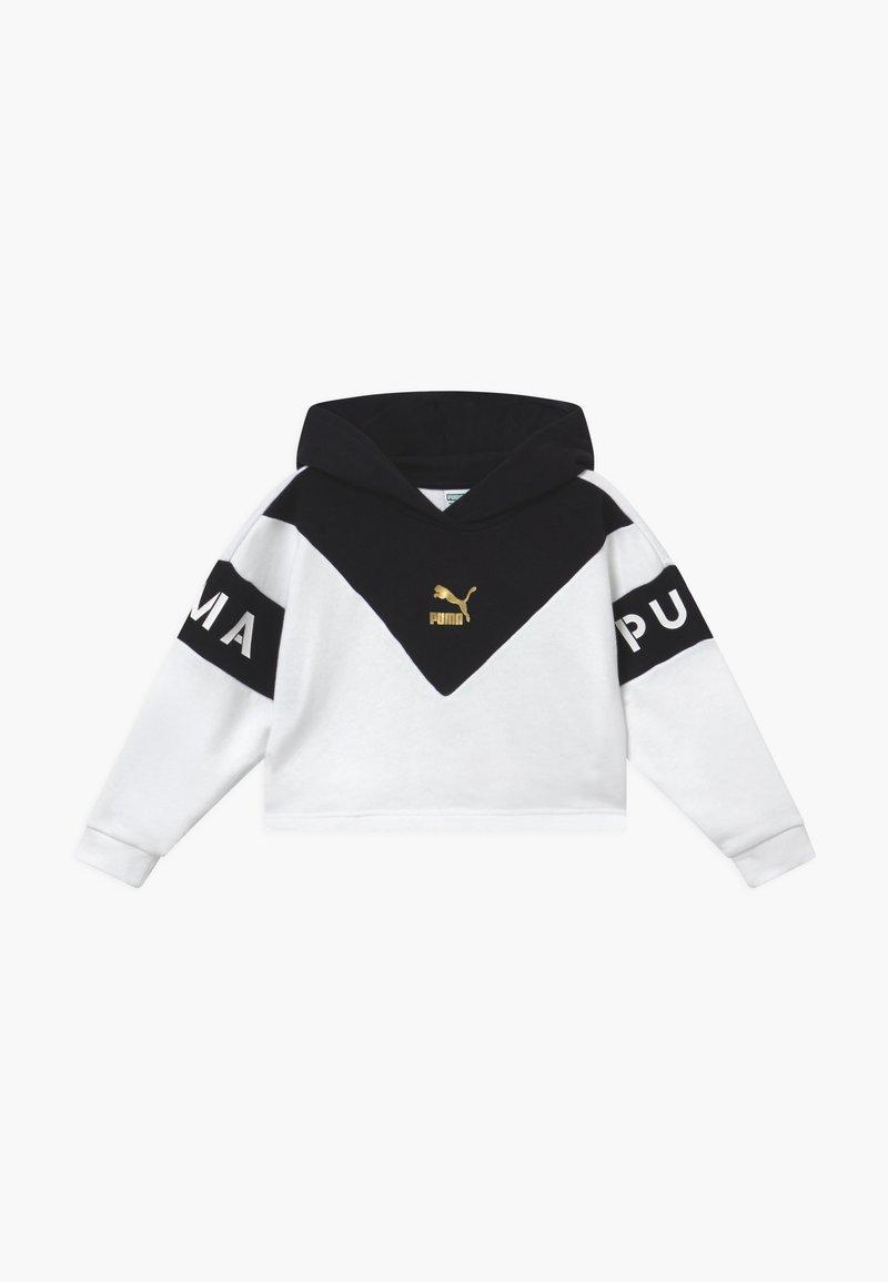 Puma - COLOR BLOCK HOODY - Bluza z kapturem - white/black