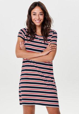 ONLBERA BACK DRESS - Jersey dress - beige/blue/red