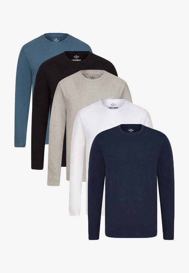 5 PACK - Maglietta a manica lunga - navy/grey marl/black/white/blue