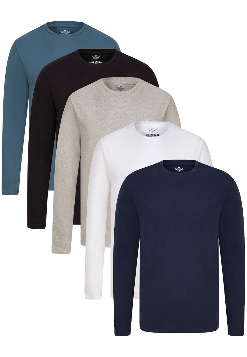 Threadbare - 5 PACK - Long sleeved top - navy/grey marl/black/white/blue