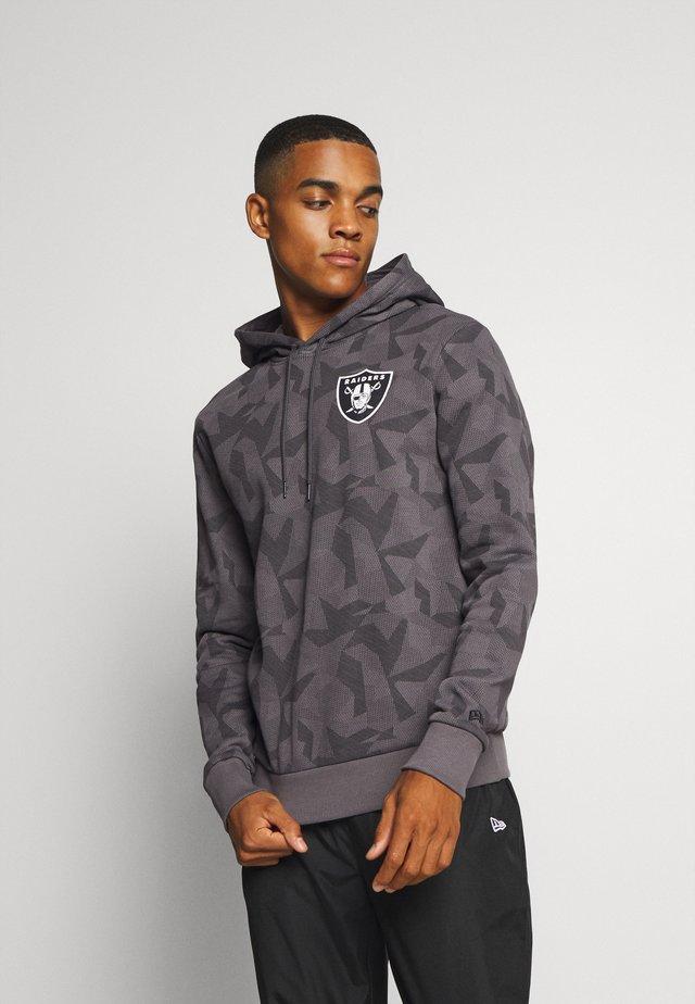 NFL OAKLAND RAIDERSGEOMETRIC CAMO HOODY - Felpa aperta - dark grey
