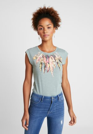 ONLBONE FEEL FEATHERS BOX - T-shirts med print - chinois green
