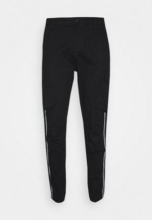 FITTED TAPED CUFF CARGO - Cargo trousers - black