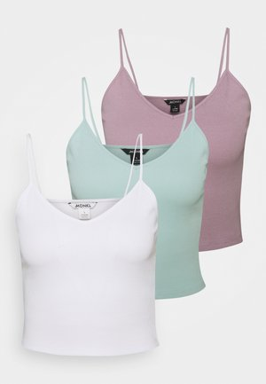 TRICIA SINGLET 3 PACK - Topper - white light solid/green/purple