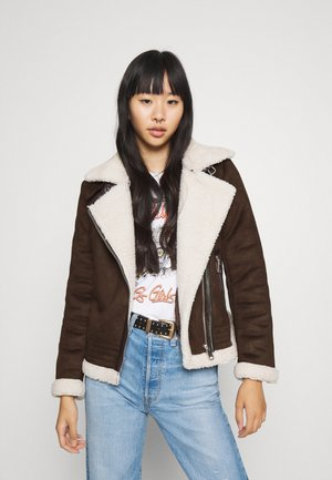ONLDIANA BONDED AVIATOR JACKET - Faux leather jacket - black coffee/white