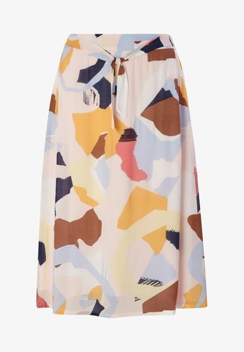 A-line skirt - blush abstract geo