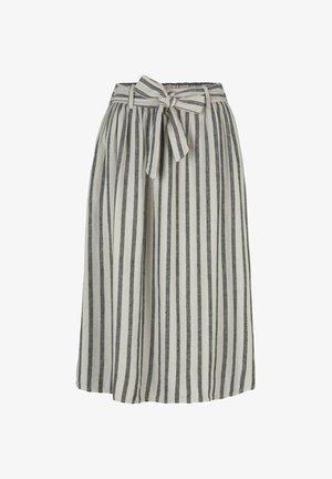 MIT BINDEGÜRTEL - A-line skirt - black beige stripe