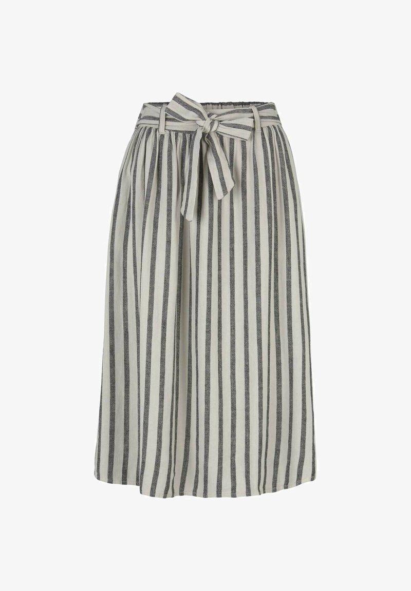 TOM TAILOR DENIM - MIT BINDEGÜRTEL - A-line skirt - black beige stripe
