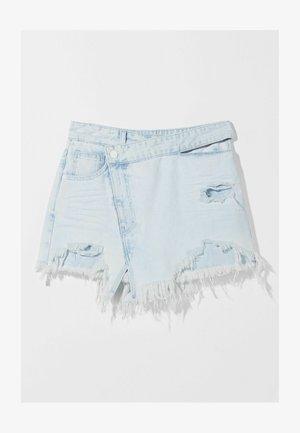 MIT AUSGEFRANSTEM SAUM  - Spódnica trapezowa - light blue