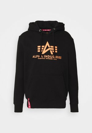 BASIC HOODY PRINT - Luvtröja - black/neon orange