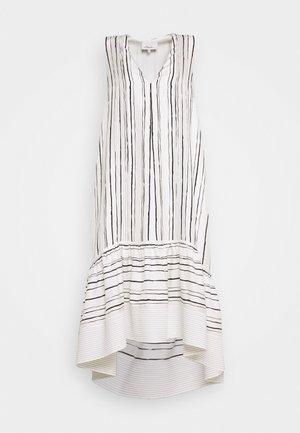 PAINTED STRIPE DRESS HIGH LOW HEM - Day dress - white
