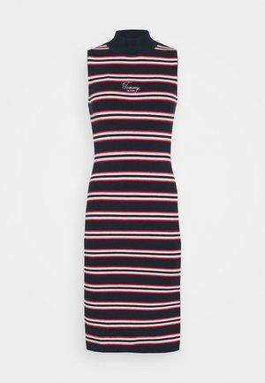 SIDE SLIT STRIPE DRESS - Kotelomekko - dark blue/white