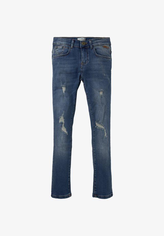 MIT RISS-DETAILS - Slim fit jeans - blue denim|blue