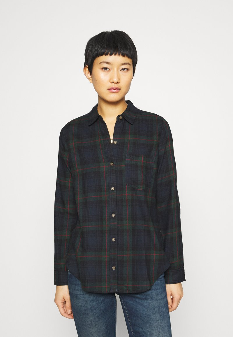 Abercrombie & Fitch - HOLIDAY - Button-down blouse - dark green/navy