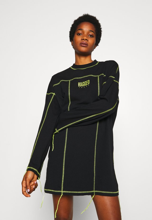 EXPOSED SEAM DRESS - Day dress - black/lime