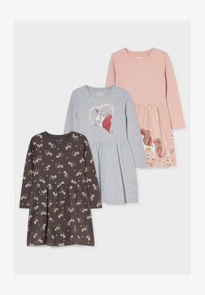 3 PACK - Jersey dress - gray / rose
