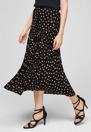 MIT PLISSEEFALTEN - Pleated skirt - black polkadots