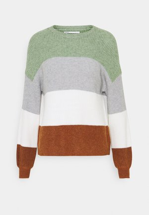 ONLSANDY STRIPE - Jumper - hedge green/cloud dancer
