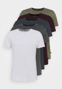 Burton Menswear London - SHORT SLEEVE CREW 5 PACK - T-shirt basic - burgundy/olive - 8