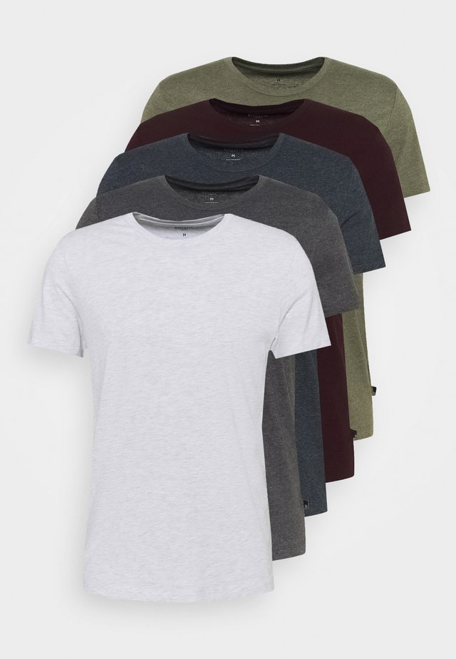 SHORT SLEEVE CREW 5 PACK - T-shirt basic - burgundy/olive