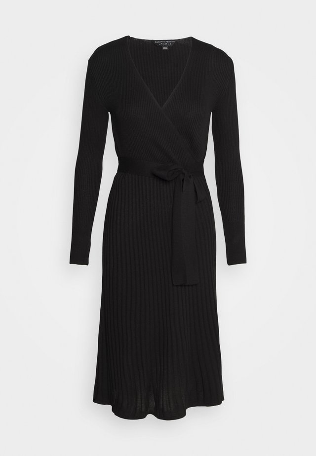WRAP DRESS - Stickad klänning - black